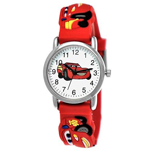 Pure Time Kinderuhr,Silikon Armband Uhr mit Cars Motiv in Rot