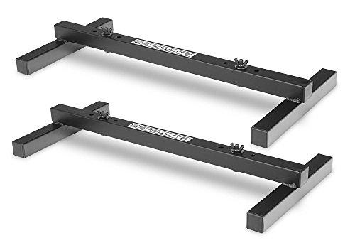 2er Set Showlite FLS-20 PAR Licht Bodenstative (2-fach Bodenstative zum Aufstellen von zwei Scheinwerfern, Grundfläche 55,5 x 25,5 cm, 6 cm hoch, stabile Konstruktion, ineinander stapelbar) Schwarz -