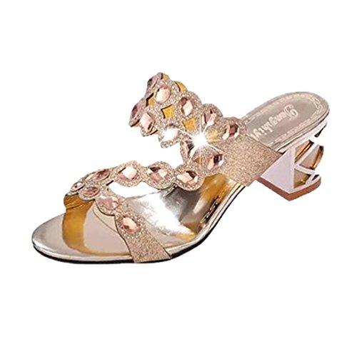 Damen Sandalen,Sannysis Sommer Mode Frauen Mädchen Große Strass High Heel Sandaletten Damen Strand Sandale Flip Flops Bohemia Flach Zehentrenner Sandalen (40, Gold)