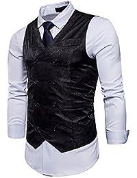 UUAISSO Hombre Paisley Elegante Chaleco Traje Slim Fit Waistcoat