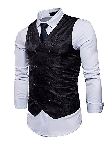 UUAISSO Paisley Gilet Homme Sans Manches Slim Fit Ancien Rétro Double Boutonnage Costume Blazers,Noir,Medium