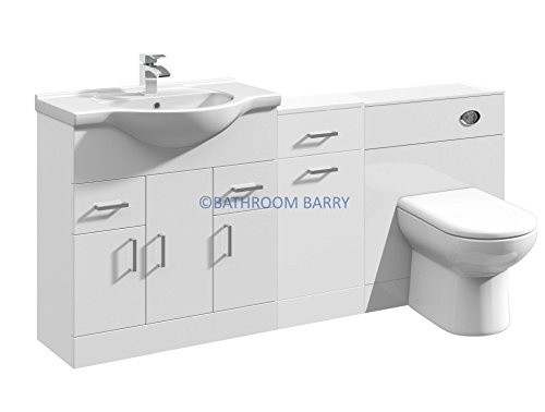 1700mm modular high gloss white bathroom combination vanity basin sink cabinet laundry cupboard for Modular bathroom vanity pieces