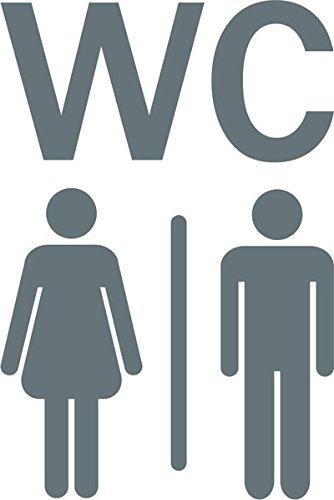WC bagno servizi igienici segnale simbolo indicazione adesivo rimovibile prespaziato senza fondo in vinile colore argento matt, 15 centimetri.