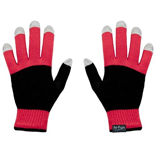 Hi-Fun Hi-Glove-WRED Guanto Donna per Smartphone e Tablet, Rosso