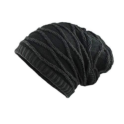 IMJONO Männer Thicken warm Gestrickte Mütze häkeln Winter Strick Schädel Slouchy Caps Hut (Schwarz,OneSize)