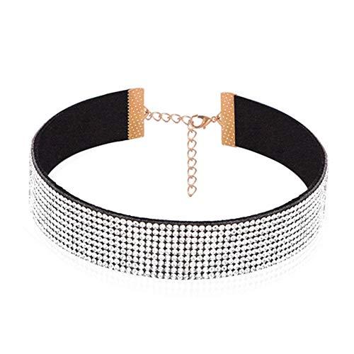 Frauen Art und Weise Halsband Multi Row Strass Halskette Korean Samt Diamant-Halskette (weiß)