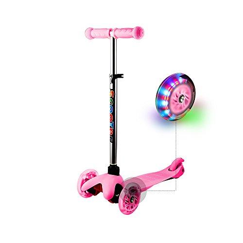 WeSkate Kinderroller Verstellbare 3 Räder Kinderscooter Dreiräder Roller Scooter Tretroller für Kleinkinder Kinder Junge Mädchen ab 2 Jahre, mit LED leuchten Räder (Rosa)
