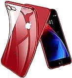 Cover iPhone 7, Cover iPhone 8, Joyguard Custodia iPhone 7/8 con [Protezione per schermo in vetro temperato (*2)] Trasparente Silicone TPU con Paraurti di Effetto Metallico - Rosso
