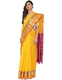 CLASSICATE From the house of The Chennai Silks Traditional Silk Saree with Colorblock Border (CCMYSS10394 - Saffron Yellow)