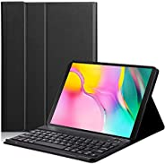 Caster For Samsung Galaxy Tab A 10.1T510/T515 Split Colorful Backlit Bluetooth Keyboard Protective Case black