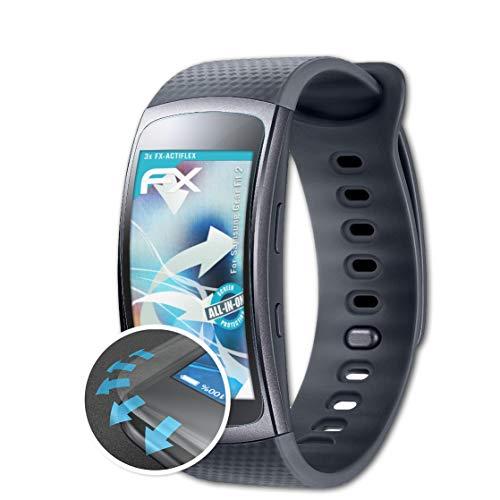 atFoliX Schutzfolie passend für Samsung Gear Fit 2 Folie, ultraklare & Flexible FX Bildschirmschutzfolie (3X)