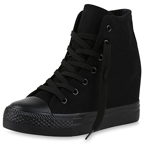 SCARPE VITA Damen Sneakers Keilabsatz Sneaker-Wedges Trendfarben Stoffschuhe 165498 Schwarz 39