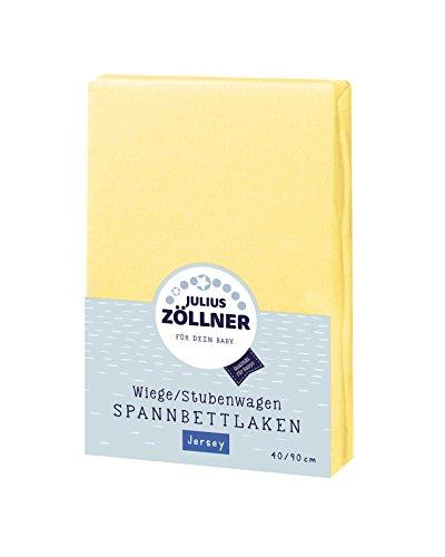 Julius Zöllner 8330013220 - Spannbetttuch Jersery für die Wiege, Größe: 90 x 40 cm, Farbe: gelb