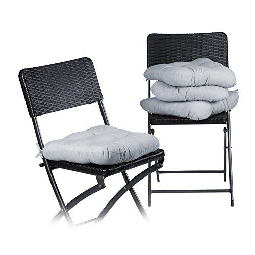 Relaxdays Stuhlkissen 4er Set ca. 40x40 cm Sitzkissen mit Schleife, Auflage für Stühle in Haus und...