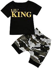 Fossen Ropa Bebe Verano 6 Meses ~ 4 Años Bebe Niño Camiseta de Manga Corta LIL'S King Estampado y Camuflaje Pantalones Cortos