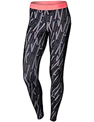 Nike W Np Hprcl Tght Skew Mallas, Mujer, Negro (Black / Black / Lava Glow), XS