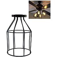 Velidy - Pantalla de lámpara vintage de metal, estilo abierto, color negro, para lámpara de alambre o jaula de protección de la luz, 20 x 12 cm