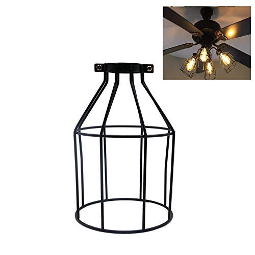 Velidy - Pantalla de lámpara vintage de metal, estilo abierto, color negro,...