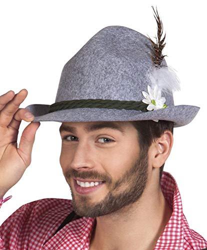 Boland Hut Tiroler Ewald Deluxe Grau mit Federn für Erwachsene, 54235
