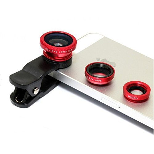 Rewy Universal 3 in 1 Cell Phone Camera Lens Kit – Fish Eye Lens / 2 in 1 Macro Lens & Wide Angle – Assorted Color