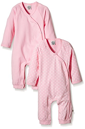 Care Baby - Mädchen Strampler ohne Füße im 2er Pack Stars/Uni, Rosa (Rose), 92