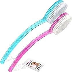 TopNotch, 2 Stück Badebürsten oder Rückenbürste mit langem. Pink und Blau