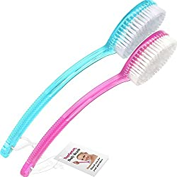 TOPNOTCH BATH AND SHOWER BRUSH 2 PACK - 1 Pink and 1 Blue Quality Body Brushes with Long Handle