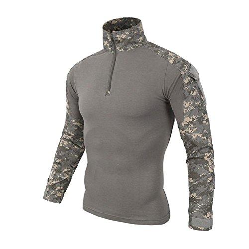 SANKE Männer Langarm-Kampf-T-Shirt Military Camo Rapid Assault Zipper Tops -