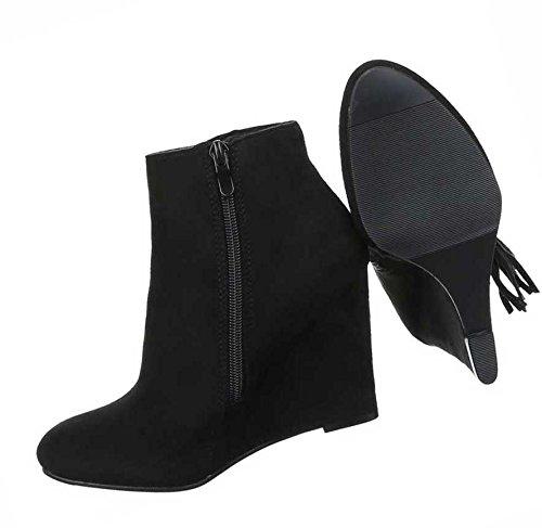 Damen Boots Schuhe Wedges Keil Stiefeletten Mit Fransen Schwarz 36 37 38 39 40 41 Schwarz