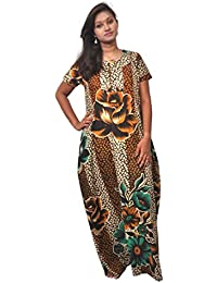 AISNIGHA Womens brown Print Cotton Nighty a deep 5025 | Womens Soft and Comfortable Nightgown for Straight-Fit | Ladies Nighty Set | High-Quality Nightwear for Everyday Use – Large | XL | XXL | stylish piece of ladies nighty that is ultra-soft and durable | Made from best quality materials | comes under best price