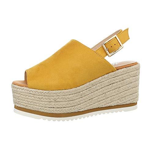 uhe Sandalen & Sandaletten Keilsandaletten Synthetik Gelb Gr. 37 ()