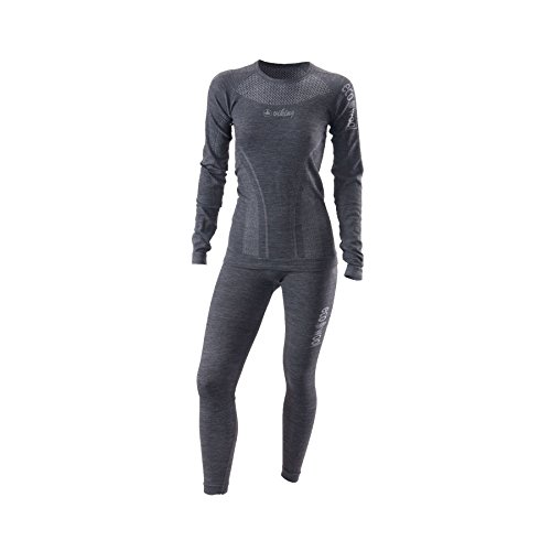 Viking Thermounterwäsche Damen Set Hose und Longsleeve Funktionsunterwäsche - mit Wolle - Lana Set, 09 schwarz, M