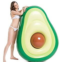 Syolee Pool Float Inflatable Avocado Lounger with Ball Swimming Raft Beach Water Party Toy for Adults Kids