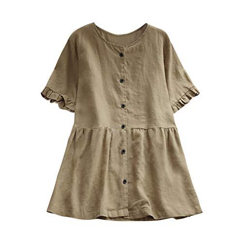 CAOQAO Damen Lässig Plus Größe Vertikal Streifen Lose Leinen Knopf Tunika Hemd Bluse (Size Lustige Kostüme, Plus Halloween)