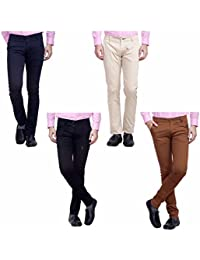 Nimegh Cream, Black, Navy Blue And Brown Color Cotton Casual Slim Fit Trouser For Men's (Pack Of 4)