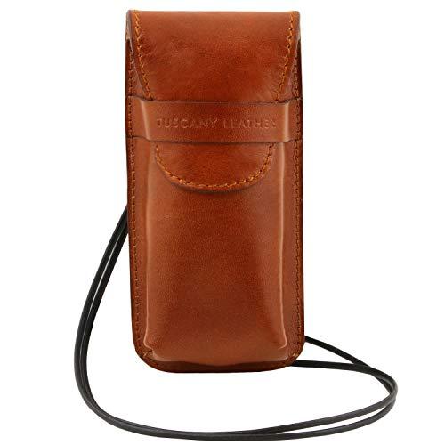 Tuscany Leather Esclusivo portaocchiali/Smartphone a tracolla in pelle Misura grande Miele