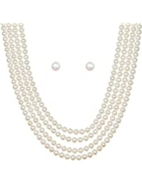 Classique Designer Silver Alloy With Gold Plated Round Pearl Necklace Set For Women(CP213)
