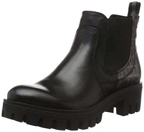 Tamaris Damen 25406 Chelsea Boots, Schwarz (Blk/Pewt.Croco 030), 38 EU