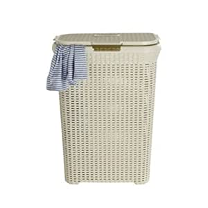 Curver Faux Rattan Laundry & Washing Basket 60 Litres