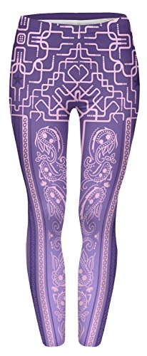 Fringoo Yoga-Leggings für Damen, enganliegend Gr. One size , Bandana Deco Purple (Low-rise-performance-hose)