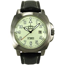 Skytimer 507545031Automatic Aviator Watch-Miyota 8215Case 17x 17mm, Glass Base Stainless Steel 5ATM water resistant leather band