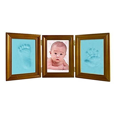 Fuloon Baby Double Print Frame Classic flant First Year Print Frame A Gift Ideal for a Range of Celebrations Including Christmas, Christenings, Baby Showers and Birthdays for the Family (Brown)