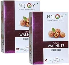 N'Joy Natural Regular Halves Walnuts Kernels 2 X 250 gm (Pack of 2)