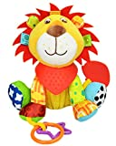 OASMU Baby Toys, Pram Toys, Colorful Lion Infant Stroller Toys Washable Squeaker Car Toys, Kids Hanging Toy For Crib With Teethers
