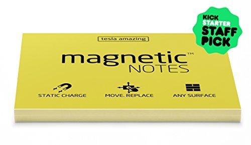 magnetisch Noten–Amazing static-charge Sticky Notes, Finanziert auf Kickstarter. Bestseller 100x 70mm Größe, 100Blatt Papier. NEU erfunden, die hält an, Alles. Ohne Pins, Klebstoff oder Tasten. doppelseitig und vollständig recycelbar., die Sie nie Nutzung Sticky Notes wieder. gelb