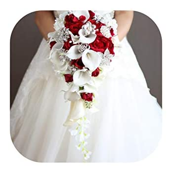 Bouquet Da Sposa A Cascata.Jobfine Royal Blue Artificiale Sposa Fiori Cascata Bouquet Da