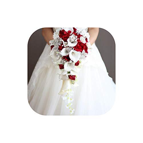 Jobfine royal blue artificiale sposa fiori cascata bouquet da sposa con il cristallo, rosso