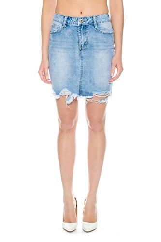 Nina Carter Jupe courte en jeans femme denim bleu délavé mini jupe destroy taille 40