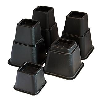 KCT 8 Piece Black Plastic Stackable Bed or Furniture Riser