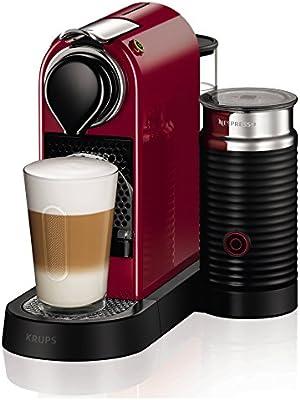 Krups Nespresso Citiz Milk XN7605 - Cafetera monodosis de 19 bares con aeroccino integrado y bandeja extraíble, color rojo